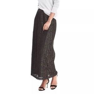Banana Republic Army Green Lace Pleated Maxi Skirt